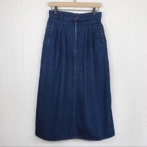 Vintage Calvin Klein Pleated Denim Long Skirt